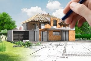 Esquisse de maison en construction avec charpente apparente